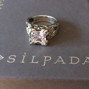 Silpada Sterling Silver Uptown CZ Filagree Ring